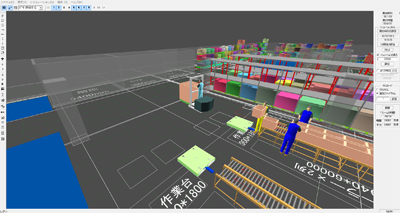 Studying optimized warehouse design with 3-D simulation software.